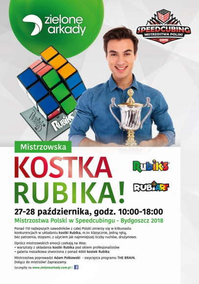 14. Mistrzostwa Polski w Speedcubingu odbędą się w bydgoskich Zielonych Arkadach Hobby, LIFESTYLE - Szturmem podbiła serca wielu pokoleń Polaków, a już niedługo opanuje Zielone Arkady.