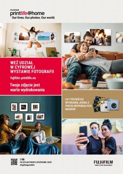 Weź udział w wirtualnej wystawie i konkursie Fujifilm printlife@home Hobby, LIFESTYLE - Korzystając z dorobku i sukcesów Fujifilm w organizacji wystaw fotograficznych, uruchamiamy printlife@home ? cyfrową platformę, na której wykorzystując potęgę fotografii, możemy podzielić się wspólnymi doświadczeniami z 2020 roku. Pokaż jak w wygląda życie i świat Twoimi oczami,